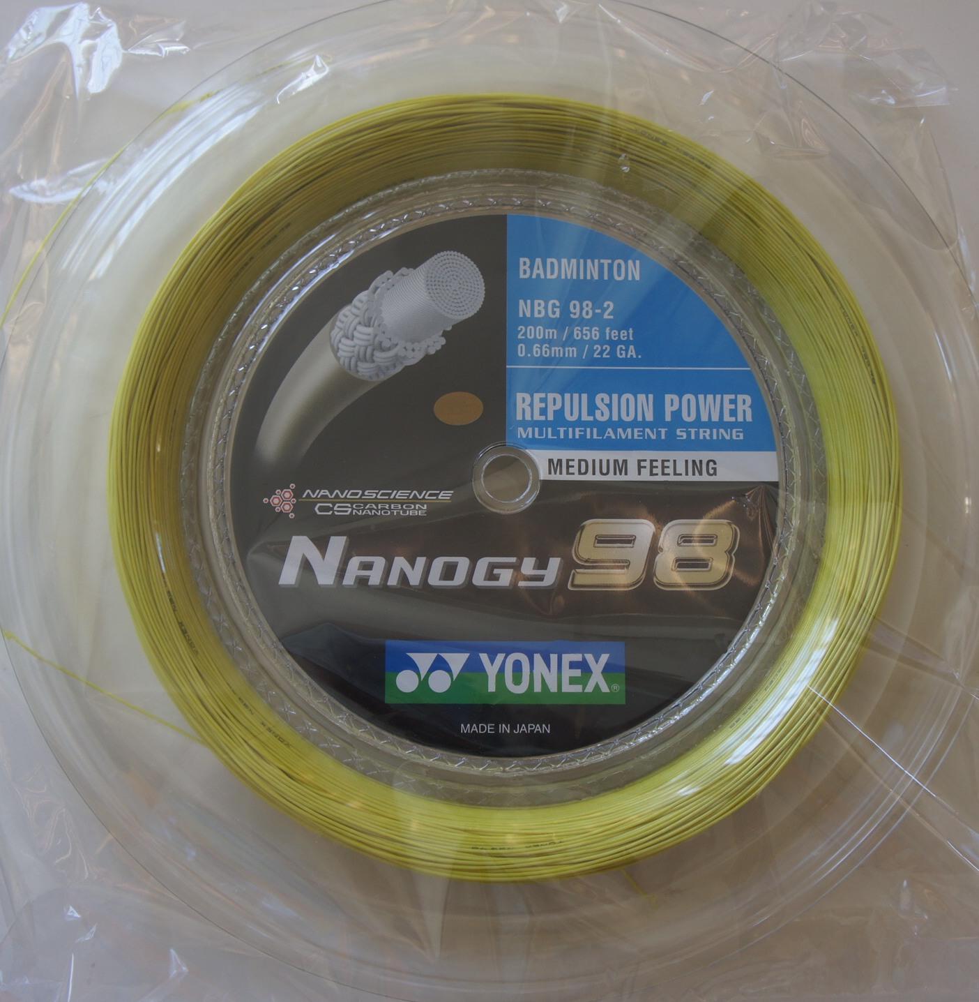 YONEX Nanogy 98 NBG98 Badminton Coil String, 200 m, Yellow ...