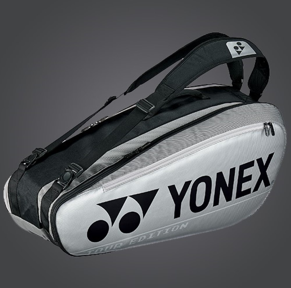 YONEX 6 Tennis/8+ Badminton Racquet Pro Tournament Bag BA92026EX, Silver, 2020 New