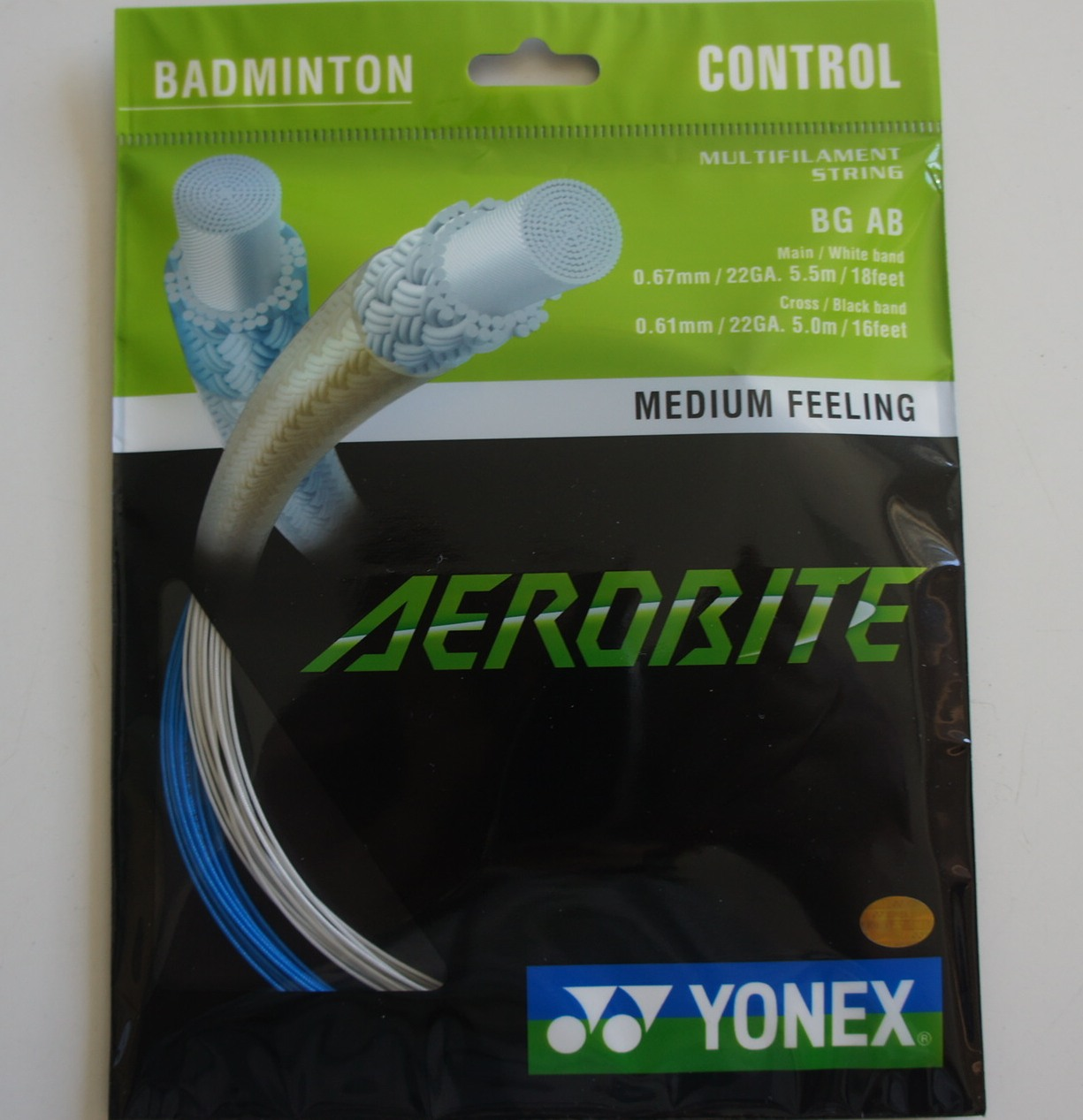 YONEX BG AB Aerobite Badminton String (2 Packs), Blue/White