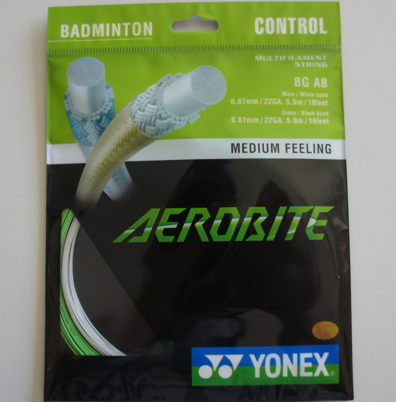 YONEX BG AB Aerobite Badminton String (10 Packs), Green/White
