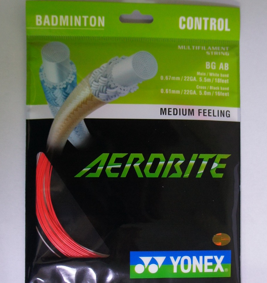 YONEX BG AB Aerobite Badminton String (10 Packs), Red/White