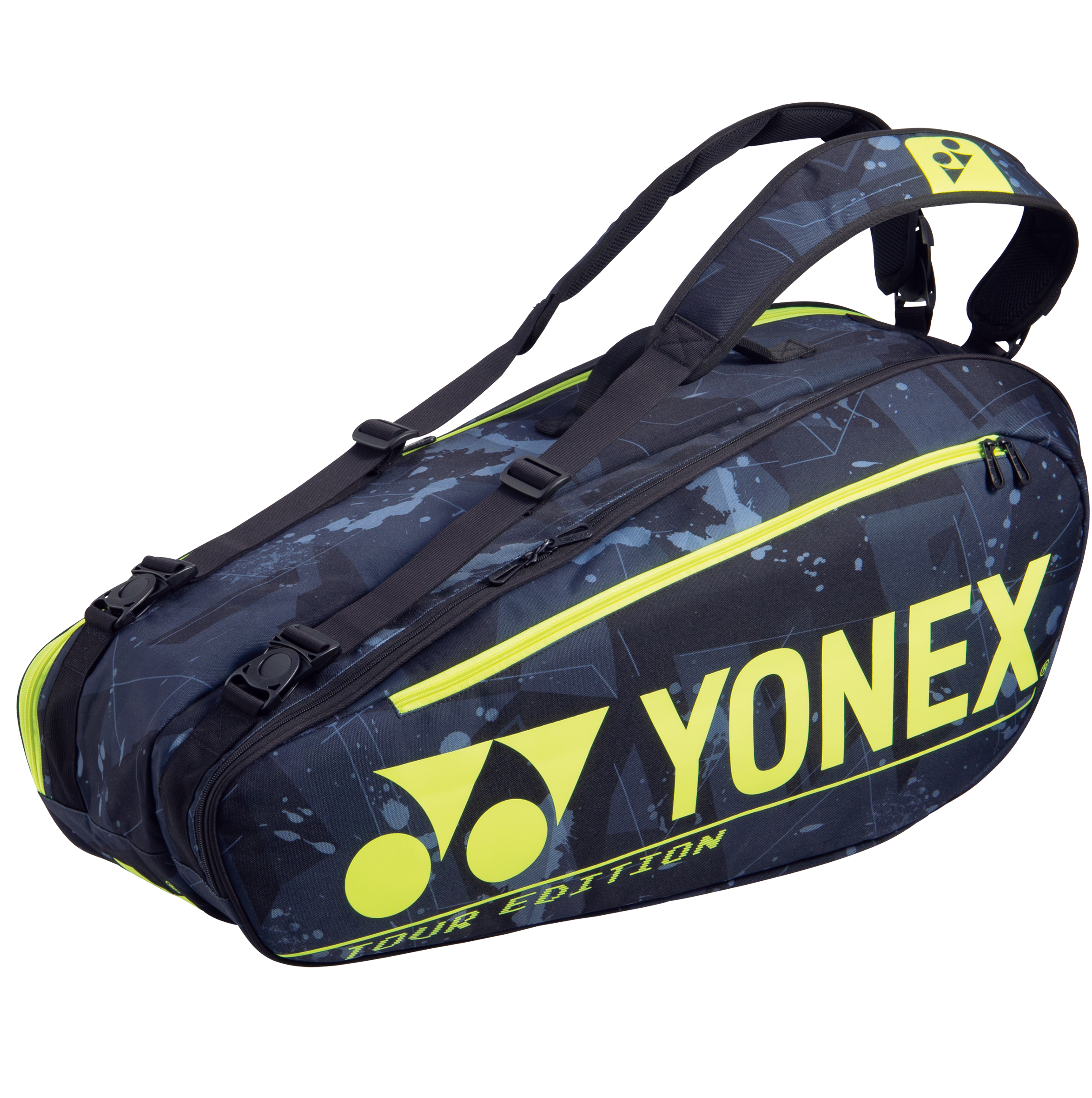 YONEX 6 Tennis/8+ Badminton Racquet Pro Tournament Bag BA92026EX, Black/Yellow, 2021 New